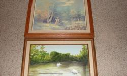 swan picture by ms Tredman 89 asking $20 lady in wood picture by L Met asking $20 for it pair wall pictures of animals in the wild asking for the set $20