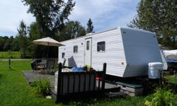 Hi,I have mi trailer for sale, very clean, no pets, all working,sleeps 8. Comes with: queen bed,bunk beds,normal fridge,tires in good shape,new water tank,new microwave,bbq,2 tvs,new queen mattress,Roof AC. For questions please call me at 8197908747,