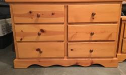 """Pine 6 drawer dresser, in great shape. Measures 48""""wide, 17.5""""deep, 30.5""""tall. Take a look at my other ads to view more pine furniture in the same finish for sale. Sorry, no delivery available."""
