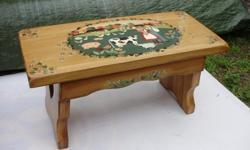 "Pine bench painted. 26""L 12""D 13""H 14"