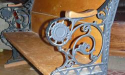 Pine church pew with cast iron scroll work on the ends. Circa 1890. Just over 4ft long, back slants slightly. A beautiful piece...MUST be seen. Asking $350.00 or Best Offer. Pick-up only please.