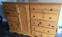 Pine 10 drawers 2 shelves. 66w x 17d x 46h. $170