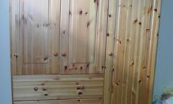 """In good condition, solid pine. 52"""" wide 15"""" deep 53.5"""" high"""