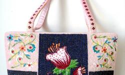"""Pink Beaded Handbag Tote Bag with Floral Embroidery - top zipper closure - handbag: L 12"""" x D 3-1/4"""" x H 8-5/8"""" (not including the height of the handle) - brand new - $70 firm"""