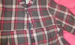 Pink Plaid Jacket, Size 2XL No Stretch, Never Worn, Perfect Condition.  Comes with button on dark grey hood.