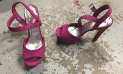 Brash pink suede heels. $5. - Size 7 - Used only a couple of times and in really good shape I have some other items for sale also. You can check them out at www.facebook.com/forsalegadgets4u