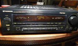Hi, this is a great looking, and sounding Pioneer VSX-452 Audio Video AM/FM Stereo Receiver, it weighs over 18 pounds, and puts out 80 watts per channel of power. This fully cleaned Amp is static and problem free. It has a built in AM/FM Tuner, as well as