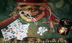 All the things in the pictures is for this price and in excellent condition. Comes with tattoos and plastic skull necklace that lights up, hat set for the winter, blanket and slippers to keep warm.