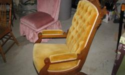 Jacques & Hayes platform rocker.  Recently reupholstered and in great condition.  Button backed.