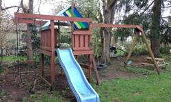Good condition. Slide, rope, rope ladder, swing, tire swing, playhouse with tarp roof, and area for sand under the playhouse. Solid condition, just needs a pressure wash. Come take it away!