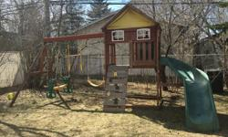 This play structure comes with a swing, a glider, and set of gym rings as well as a rock climbing wall, rope ladder, and slide. There is a telescope in the playhouse. Must be disassembled into moveable pieces in order to haul out through a man gate.
