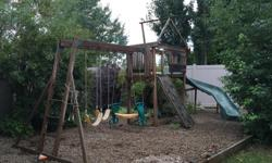 Play structure for sale $500.00 OBO. Children have outgrown it. Requires staining and tarp for the top. Take down required.
