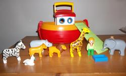 * Incomplete* Playmobil Noah's Ark. Hurry to help the animals board the My Take Along 1.2.3 Noah's Ark Bright and colorful design and large, rounded pieces are easy for small hands to hold Deck of the ark is removable and the hull has plenty of space for