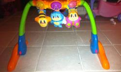 Can go up and down so baby can lay on their belly or back. Makes music , has a mirror and lots of lights. Good for younger babies. Text email or call interested. This ad was posted with the Kijiji Classifieds app.