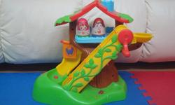 Your child will love exploring with the Playskool Weebles Musical Treehouse. This playset features lots of wobbly levels for the included figures to play on. The Playskool Weebles Musical Treehouse is sure to provide hours of wobbly fun. 1.Electronic