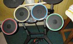 Playstation 3 Wireless Pro drumset and the Rockband 3 Game.In excellent condition. Only used  3 times. The pedal, the drum sticks and Wireless USB reciever are also included. $80.00 OBO, I can delievery to you in town (North Bay) if need be. This is an
