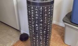 This special Vase from Jindezhen China, 40 inch X 11 inch in diameter with hand Carved Chinese Character for a famous ancient poem. if you love Chinese Culture this is one you deserve it. think about shipping for this price.