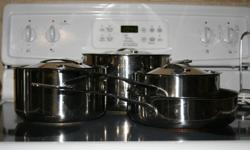 7 pc. stainless steel pots & pans set.  Very good condition.