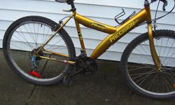 18 speed, 26 inch wheels,19 inch frame.