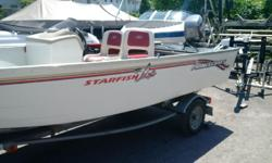16 ft side console 1999 model with 25 hp johnson galvanized trailer fish finder very good condition runs good