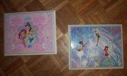"""2 wooden princess pictures, excellent condition. 8""""x10"""". Price tag on the back of $14.95 each. Asking for $5 each."""