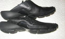 """CLARKS PRIVO PRISM BLACK LEATHER SHOES/SLIDES.  EXCELLENT CONDITION.  THEY SHOW A SIZE 7, BUT RUN AT LEAST A HALF SIZE BIG AND WILL FIT A SIZE 7.5 TO SIZE 8.  SLEEK, FUN & CONTEMPORARY.  HEEL:  1.5"""".  VERY NICE, WELL MADE SHOES.  LAST PICURE IS TAKEN FROM"""