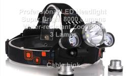 Professional High Capacity LED Headlight 8000 Lumens 3 Lamps Rechargable, Water Proof -Rechargeable Headlamp -CREE XM-L T6 Headlamp -Model of LED: XM-L T6 2R5 LED Headlamp with 4 Modes -Output bright can come to max 8000 lumens [lm] -Internal wiring
