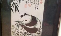 Watercolour art, panda in bamboo scene. Professionally framed Black frame, deep green matt.