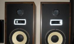 """pair of speakers, in good working condition, foam on one of them needs to be replaced model AV110XP, 3 way loudspeaker systems imp-8 oms power-10 watts min, 70watts max freq. resp.28-22,000 sensitivity- 92 db 1 watt drivers: 1*10""""dyna cone woofer 1 2*5"""