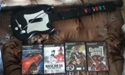 hi! I have a play station 2 guitar hero guitar and guitar hero 2 game. Barely used. I also have need for speed underground, ATV off road furry, and nascar 06. All games work perrfectly ! Also, if interested I have a ps1&2 steering wheel. Please email me