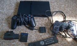 Comes with: PS2 Memory card 2 controllers 1 dvd remote and attachment 9 games.   All in good condition. *IF AD IS STILL UP IT'S STILL AVAILABLE*