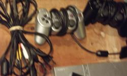 hi i have a play station 2 (silver) w/2 controllers (black and silver) 2 memory cards comes with all cords games are: -ESPN 2005 hockey -Guitar hero III Legends Of Rock -Simpsons Hit and Run -Cars -