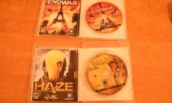 ive got 2 game i would like to sell or maby trade... Haze and Endwar    great condition no scraches, reason for selling is that i dont play them want 5$ for Endwar and 18$ for Haze   email if interested or for offers   thanks!!!