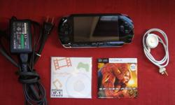 Psp used with Remote control for headphones. 2gb memory stick as well. Psp charger, sampler disc, and spiderman 2 movie. 10 games -The Hustle Detroit Streets -Darkstalkers Chronicle: The Chaos Tower -Socom U.S Navy Seals Fireteam Bravo 2 -Scarface Money .
