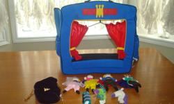 INCLUDED ARE KING, QUEEN, PRINCE, PRINCESS, UNICORN, DRAGON, AND CATERPILLAR. FINGER PUPPETS CAN BE STORED ALONG BACK POCKETS BUT ALSO INCLUDED IS A BAG FOR EXTRA STORAGE.