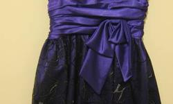 Purple Dress with Silver Embroidery- Super cute! Can be worn with or without straps. Sweetheart cut with Empire Waist Size 4 100% Polyester Made in U.S.A 9.5/10 condition, worn once Will meet in Markham