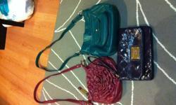 Purple tommy hilfiger clutch purse, $10 Steve Madden rose side strap purse, $10 Teal side strap purse, $7
