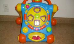 great condition for infants learning to walk plays music shape sorter on the front.