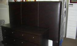Brown Leather Headboard. Bolts onto rug roller frame. We have frames on sale too. SIDNEY BUY & SELL your furniture, mattress and more store We are Buying and Selling. New and Used. Come SEE. 9818 Fourth St. Sidney BC . Check our other ads for more deals