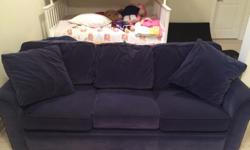 Navy blue queen size pull-out sofa, solid frame