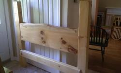 Custom made 4 post Live Edge pine bed frame. Queen size but works for a full mattress as well. Includes a queen size Beautyrest Pillow top mattress from smoke free and pet free home Incredibly impressive bed...will make an incredible piece for your room.