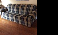 QUEENSIZE SOFA BED EXCELLENT CONDITION BLACK AND GOLD STRIPES ASKING $300.