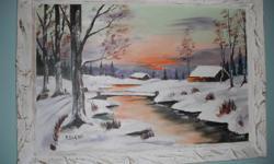 Lovely winter scene oil painting in nice frame