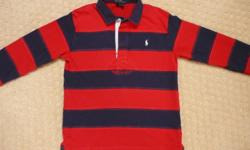 Boy's Ralph Lauren rugby style shirt, size 7.  In excellent condition - no snags or marks.  100% cotton;  from a smoke-free home.