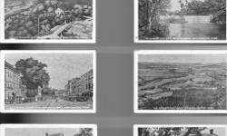 """Rare miniature black & white postcards of Northampton, Mass. very old, lot of 9. These unused mini-postcards are approx 3 5/8"""" wide x 2 1/8"""" high and feature black & white scenes from the city of Northampton. Inlcuded are St. Micheals Church, Main Street,"""