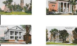 """Rare miniature color postcards of Northampton, Mass. very old, lot of 8. These unused mini-postcards are approx 3 5/8"""" wide x 2 1/8"""" high and feature color scenes from the city of Northampton. Inlcuded are City Hall, Dickinson Hospital, Seelye Hall Smith"""