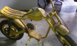 Hello I have a mini bike frame for sale it is in great shape has suspension drum brakes levers and 1 cable still on it also has gas tang attached just need to through on an engine and your all set I am looking to get 80$ or best offer This ad was posted