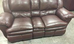 Leather has been cleaned and conditioned. No rips or tears. Mechanisms work. Fold down armrest/cup holder. Very good condition. Pick up in Nanaimo. Can help with loading. Be advised it's very heavy.
