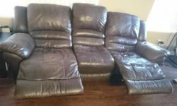Hi I have a 3 seater and 2 seater which both recline. Very comfortable couches, approximately 8 years old. they have been cleaned regularly and are in good condition. I am selling because I am moving out of my condo unit and no longer need them. These