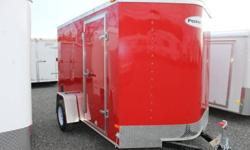 RED EXTERIOR COLOUR, REAR RAMP DOOR, SIDE ENTRY DOOR, FRONT STONEGUARD, 12V INTERIOR DOME LIGHT, 4 X SQUARE D-RINGS, 2980LBS GVWR, 1195 LBS DRY WEIGHT www.1000islandsrv.com
